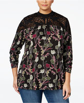 Style&Co. Style & Co. Plus Size Printed Lace-Trim Tunic, Only at Macy's