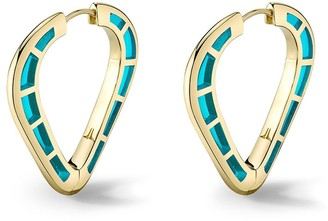 Andy Lif 18kt gold enamel Cobra hoop earrings