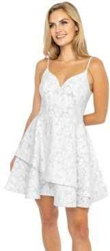 B. Darlin Juniors' Floral-Lace Asymmetrical-Skirt Dress