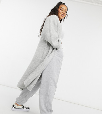 ASOS DESIGN Curve maxi edge to edge cardigan in grey