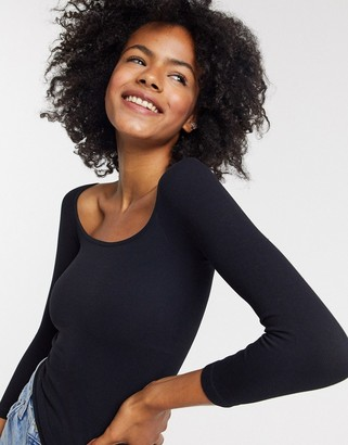 Free People Square neck 3/4 Sleeve in Black