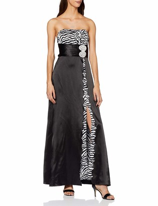 Ever Pretty Elegant Printed Strapless Padded Satin Evening Dress 09922 HE09922BK08