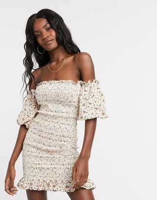Topshop shirred bardot mini dress in ivory floral