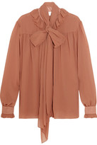 See by Chloe Pussy-bow Chiffon Blouse - Antique rose