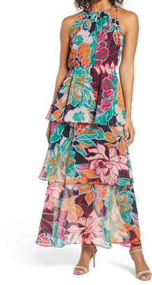 Donna Ricco Floral Two-Piece Cover & Tiered Maxi Dress