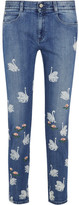 Stella McCartney Swan Printed Embroidered High-rise Skinny Jeans - Light denim