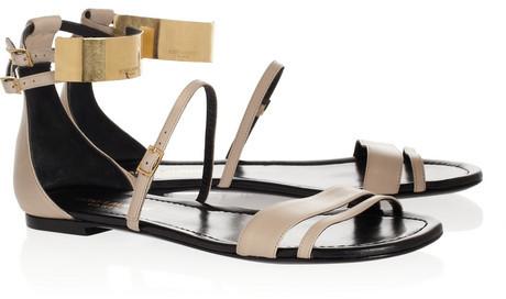 Saint Laurent Leather and metal sandals