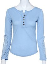 Changeshopping Womens Long Sleeve Casual Lace Blouse Loose Cotton Tops T Shirt