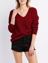 Charlotte Russe Shaker Stitch Lace-Up Sweater