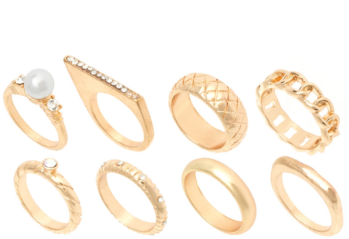 River Island Gold Mega And Pearl Ring Pack