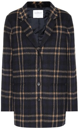 Velvet Jasmann plaid wool-blend coat