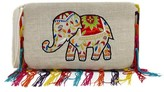 The Well Appointed House Embroidered Jute Elephant Wristlet with Rainbow Fringe