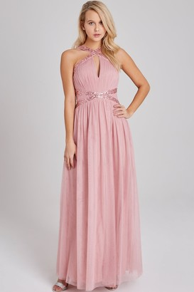 Little Mistress Bridesmaid Edith Rose Sequin-Trim Maxi Dress