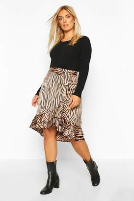 boohoo Plus Zebra Print Ruffle Self Belt Midi Skirt