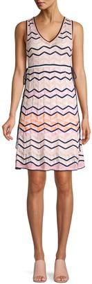 M Missoni Multicolor Scalloped Chevron Knit A-Line Dress