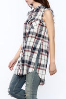 Jella Couture Sleeveless Plaid Tunic Top