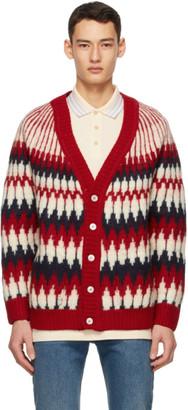 Gucci Red Wool Jacquard Zigzag Cardigan