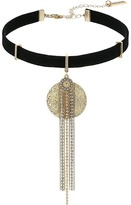 Steve Madden Textured Disc Silver/Gold Bead Fringe Suede Choker Necklace