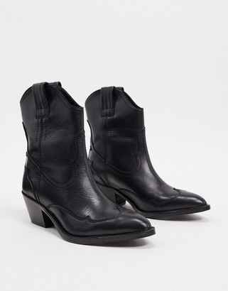 AllSaints shira leather western boots in black