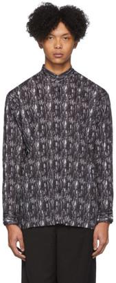Issey Miyake Black and White Collarless Shirt
