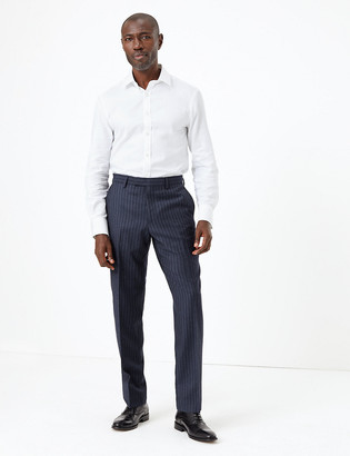 Marks and Spencer Navy Striped Tailored Fit Wool Trousers