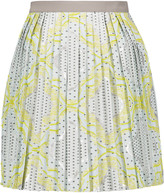 Raoul Pleated cotton-blend jacquard mini skirt