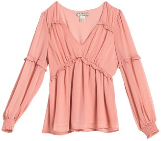 Endless Rose Ruffle Trim V-Neck Blouse