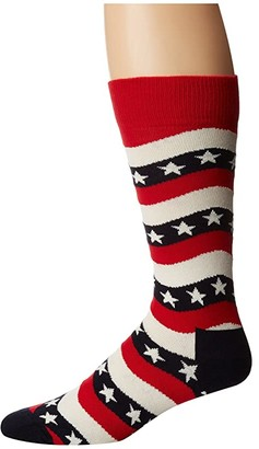 Happy Socks Wavy Stripe Socks (Navy/Red/White) Men's Crew Cut Socks Shoes