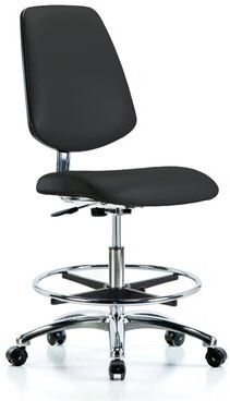 Blue Ridge Drafting Chair Ergonomics Upholstery Color: Black, Casters/Glides: Casters