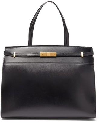 Saint Laurent Manhattan Medium Canvas And Leather Tote Bag - Womens - Black