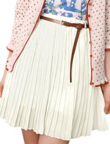 Allegra K Ladies Color Chiffon Pleated Skirt w Brown Buckle Belt L
