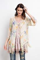 Easel Bottom Fringe Kimono