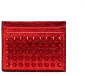 Christian Louboutin Kios Studded Metallic-leather Cardholder - Mens - Red