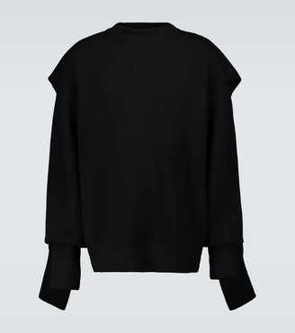 Balenciaga Hood multi-layered crewneck sweater