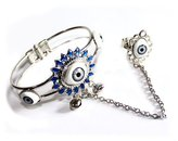 Charm & Chain New fashion cool evil eye cuff bracelet charm chain with evil rings design
