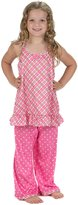 Laura Dare Youth Girls Pink Playful Plaid Spaghetti Racerback Pajamas