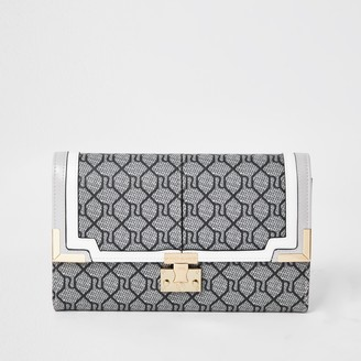River Island Womens Grey Monogram Travel Wallet