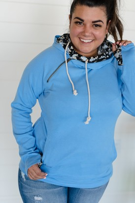 Ampersand Avenue DoubleHood Sweatshirt - Bright Blue Floral Accent