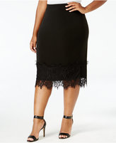 ING Trendy Plus Size Lace-Trim Pencil Skirt