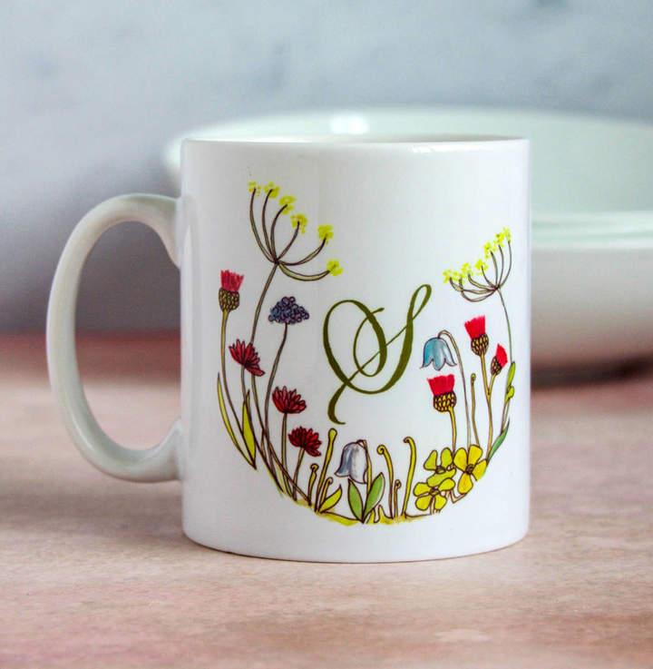 44c51749010 Snapdragon Personalised Floral Initial Mug