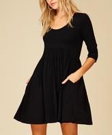 Black Three-Quarter Sleeve Empire-Waist Dress - Plus