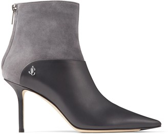 Jimmy Choo BEYLA 85 Dusk Calf Leather and Suede Ankle Booties with JC Button Detailing