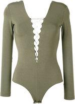 Alexander Wang lace-front long sleeve bodysuit - women - Spandex/Elastane/Modal - XS