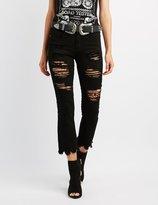 Charlotte Russe Machine Jeans Frayed Hem Destroyed Skinny Jeans