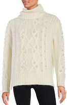 Rachel Zoe Embellished Cable Knit Sweater