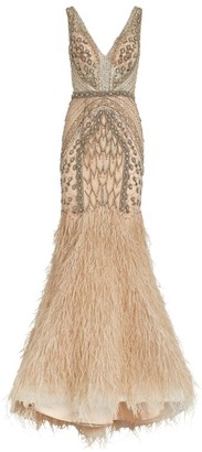 Jovani Embellished Feather-Hem Gown