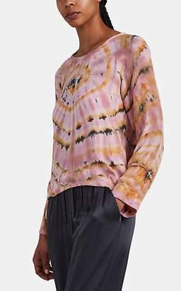 Raquel Allegra Women's Spiral-Tie-Dyed Silk Long-Sleeve T-Shirt - Pink