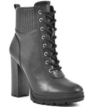 Seven Dials by White Mountain Lace-Up Heeled Booties - Hugo