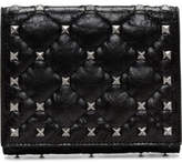 Valentino Cracked Lamb Rockstud Spike Flap French Wallet