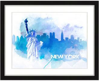 Vintage Print Gallery New York Skyline Framed Graphic Art